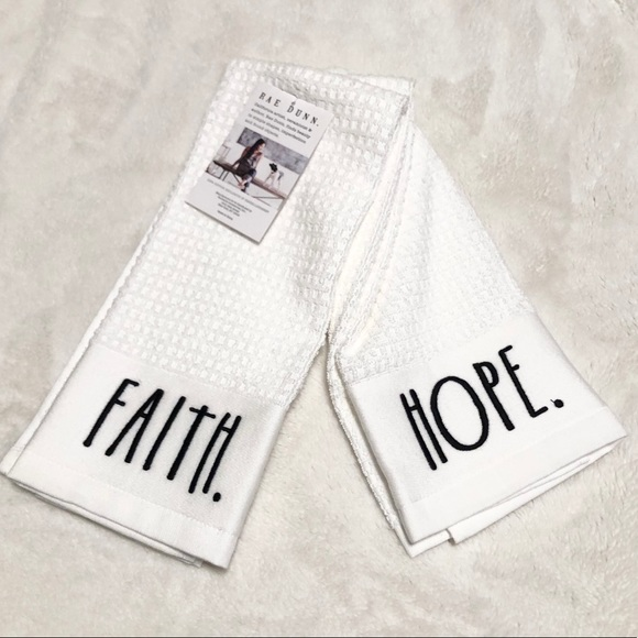 🆕Set of 2 Rae Dunn FAITH/HOPE Kitchen Towels